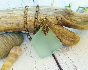 Sea Foam Green Seaglass Necklace ~ Summer Jewelry Ideas ~ 3rd Anniversary, Ocean Lovers Gift ~ Mermaid Necklace For Destination Wedding
