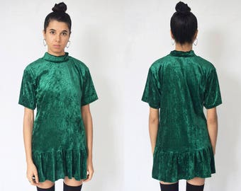 VELVET GREEN DRESS -mini, short sleeve, flared, turtleneck, cute, 90s, party, club kid, slip, baggy, kawaii, cocktail, festival-