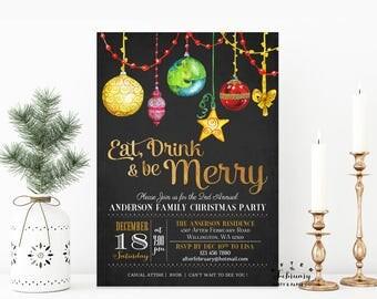 Ornament Exchange Invitation Holiday Party Invitations, Christmas Party Invitation - Digital Printable No.434XMAS