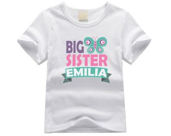 Personalized big sister shirt. Big sister butterfly theme. Butterfly big sister shirt. Big sister announcement. Butterfly big sister tee.