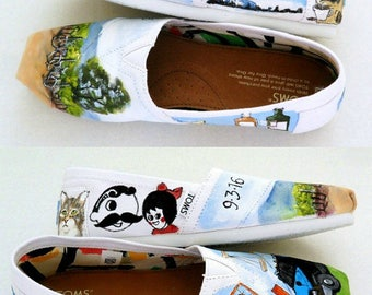Bride's Love Story Wedding Shoes Wedding Gift  Baltimore Wedding Shoes Hand Painted  Heirloom Shoes Shower Gift For The Bride Wedding Flats