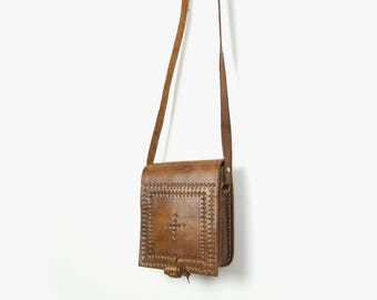 Vintage Tooled Leather Bag | Brown Leather Purse | Small Hand Crafted Shoulder Bag, Saddle, Satchel, Handbag | Women Boho Accessories