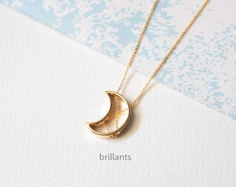 Crescent moon pendant Necklace in gold, New moon necklace, Geometric, Layer,  Bridesmaid gift, Everyday necklace, Wedding necklace