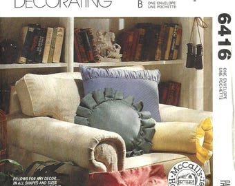 McCalls 6416 Home Decorating Sewing Pattern Pillows in All Shapes and Sizes Uncut