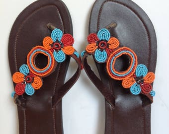 Hand Made Leather Sandals - Beaded Strap 15
