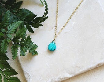 Tiny Turquoise Necklace - Small Faceted Turquoise Teardrop Necklace - Natural Turquoise Necklace - December Birthstone Necklace