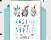 Birthday Party Invitation - PARTY ANIMALS - Jungle Party - Safari Theme - Printable - Personalized - 5x7