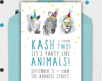Birthday Party Invitation - PARTY ANIMALS - Jungle Party - Safari Theme - Printable - Personalized - 5x7