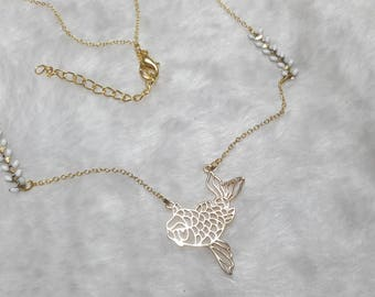 Fish white gold necklace