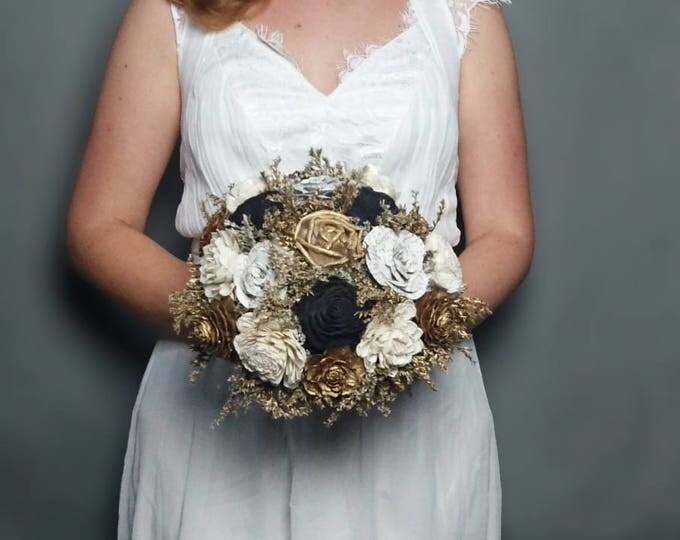Gold ivory black wedding bouquet bridal elegant retro wedding sola flowers cedar rose dried flowers paper book flowers satin ribbon carnival