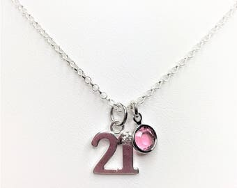 21st Sterling Silver Charm Necklace Birthstone Jewellery Swarovski Elements 21st Crystal Necklace Dainty Gift for Her LynnsGemCreations