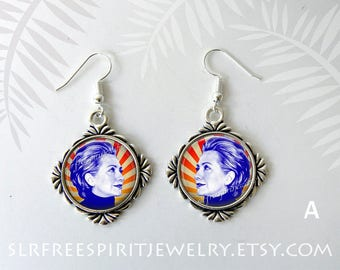 Hillary Clinton, Hillary Clinton Jewelry, Silver Earrings, Political jewelry,  Famous Women, Political figures, Democrat jewelry