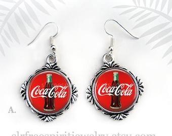 Coca Cola Earrings, Retro Coke Sign, Bottle of Coke, Soft Drinks, Coke Jewelry, Coca Cola Collectors, Pop, Fun Earrings, Favorite Things