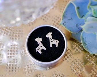 Sterling Silver Giraffe Stud Earrings / 925 / animals / safari / zoo / kids / cute / gifts for her / jewellery / jewelry / hypoallergenic