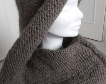Hooded neck enveloping and warm Alpaca-Merino, choose colors
