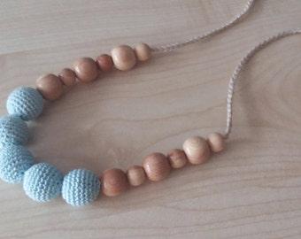 Nursing Crochet necklace Teething necklaceTurquoise Necklace Nursing necklace Breastfeeding Blue necklace Crochet jewerly Juniper toy.