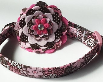 Pink and Brown Floral Flower Collar for Dogs and Cats