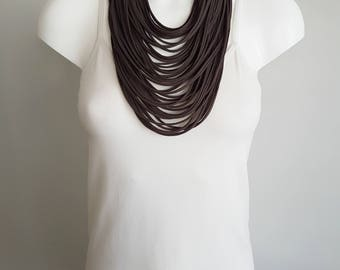 T shirt necklace, fabric necklace, multi strand necklace , brown necklace, upcycled jewelry, brown scarf