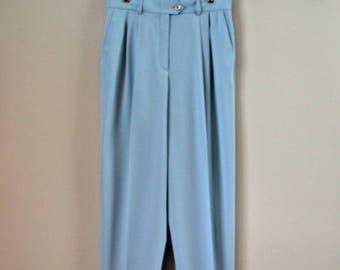 VINTAGE ESCADA PANTS, Light Blue 1990s Tapered Trousers, High Waisted,  100% New Wool, Size U.S. 10, Womens Slacks