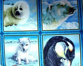 Tissu coton Petit panneau de 4 images ANIMAUX DE L'ARTIQUE