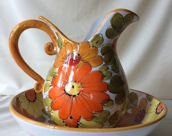 60s Vtg Italian Ceramic Pitcher and Fruit Bowl