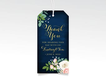 Thank You Wedding Tags . White Rose Pink Ranunculus Greenery Garland Gold Calligraphy Navy Chalkboard . Favor Gift Hang Tag Includes String