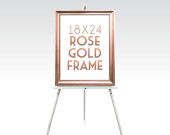 18 x 24 ROSE GOLD FRAME . Gold Foil Wedding Silver White Black Rustic Wood Picture Frame No Glass . 5 x 7in to 24 x 36in sizes available