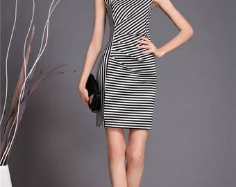 Striped dress street style, irregular neckline dress, black and white striped dress, fashion party dress, elegant sheath dress, CB539