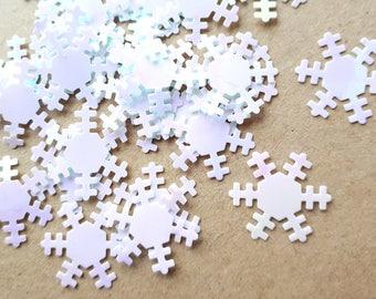 White iridescent snowflake confetti   snowflakes table confetti    Christmas   Winter  