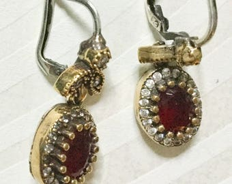 Vintage 9 Ct GoLD STERLING RuBY EARRINGs Romantic Genuine Ruby diamond Paste halo Setting Drop pierced dangles exceptionally crafted estate