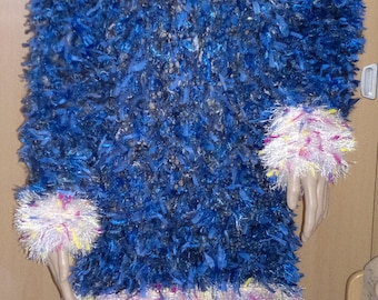 Hand Knitted Chunky Textured Jumper Dress size 14 Blue White Multi Colour