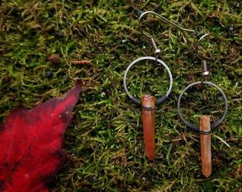 Mystic Apricot Coated Quartz Earrings // Fall Orange Quartz Earrings // Tiny Hoop Rough Cut Orange Quartz Earrings