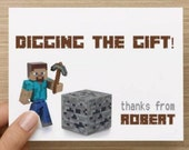 Thank you cards: Personally designed card with Minecraft inspired elements.   Personalized.  Multiple pack sizes available.