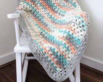 Handmade Crochet Baby Blanket,67 x 73cm/26.5 x 28.5 inches, Cream, Orange, Turquoise and Grey Mix Wool, Stroller/Pram Blanket