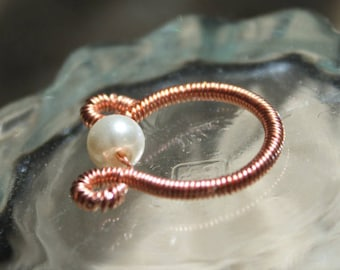 Wirework jewelry, coiled copper ring,  white pearl, gift for her