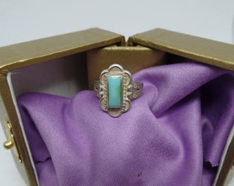 Sterling Silver and Turquoise ring marked Sterling size 5