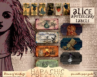 Alice in Wonderland  Apothecary Labels  Halloween Printables Digital Download  Mason Jar Labels  Gift Tags  Bottle Labels Potion