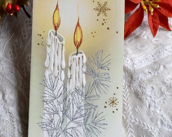 Vintage Christmas Card - White Glitter Candles - Used Mid Century