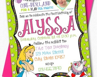 ONE-derland Themed Invitiation - Alice in Wonderland Inspired