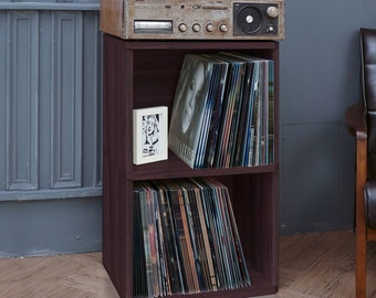 2 Shelf Vinyl Record Storage Cube   LP Record Album Storage Shelf Espresso  Wood Grain