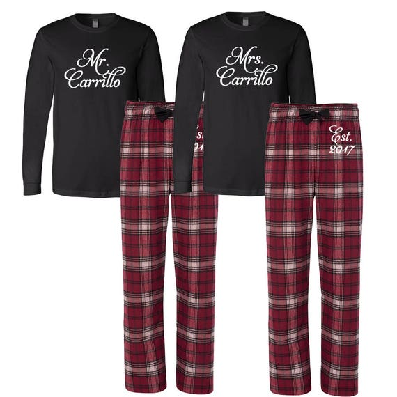 Mr and Mrs Personalized Pajamas Custom Mr. and Mrs. Couples