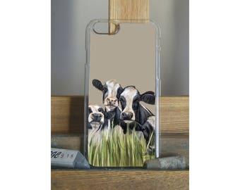 Row Of Friesian Cows Farming Dairy Phone Case Featuring An Artwork By Grace Scott