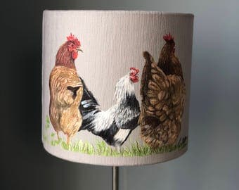 Rooster and Chickens 30cm diameter lampshade