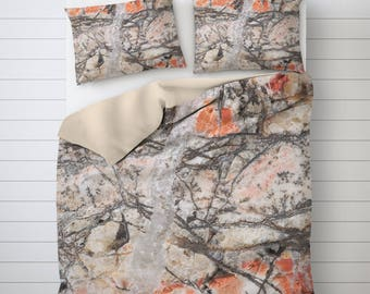 Stone Texture Art, Abstract Bedding, Mineral Photography, Picture Duvet Cover, Bed Liner, Pillow Shams, Twin Duvet Cover