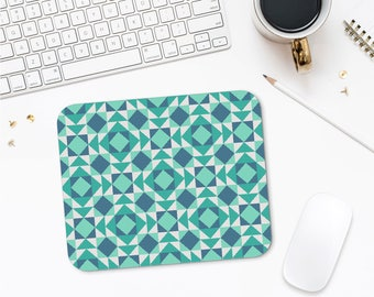 Geometric Mousepad, Turquoise Mouse Pad, Designer Mousepad, Desk Decor, Mouse Pad Design, Computer Gifts, Computer Accessories