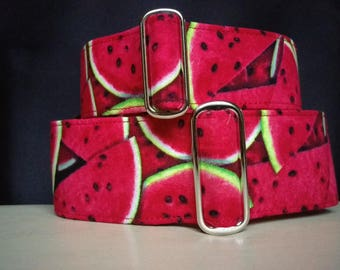 "Martingale Collar - Whippet, Greyhound, Italian Greyhound - 1"", 1.5"" and 2"" width - Watermelon"