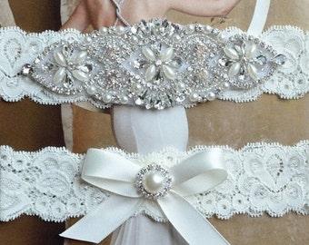 Sale Wedding Garters Ivory Lace Keepsake Toss Bridal Garter Set Crystal