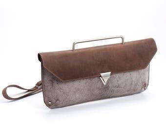 Dusty Brown Leather Clutch / Evening Leather Purse / Crossbody Bag / Shoulder Bag  / Women Clutch / Elegant Geometric Wallet - Jimi