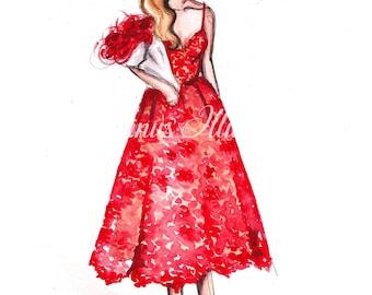 Fashion illustration, Fashion wall art, Modern wall art, Modern fashion art, Fashion art, Red wall art, Abstract art, Modern painting