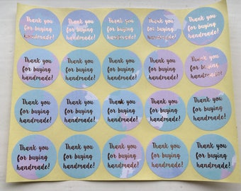 Thank you for buying handmade! | Round Sticker | Rose Gold | Watercolour | Small Business